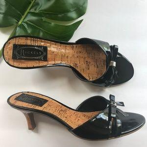 Nickel Sandals, Vegan Black Leather Sandals, Heels
